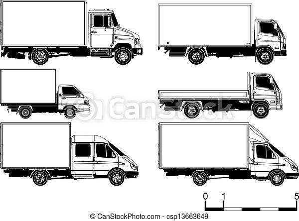 silhuetas, vetorial, jogo, caminhões - csp13663649