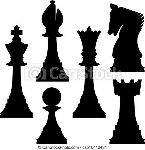 silhuetas, xadrez - csp10410434