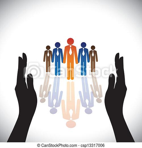 silhuett, concept-, företag, secure(protect), hand, anställda, gemensam, eller, ledare - csp13317006
