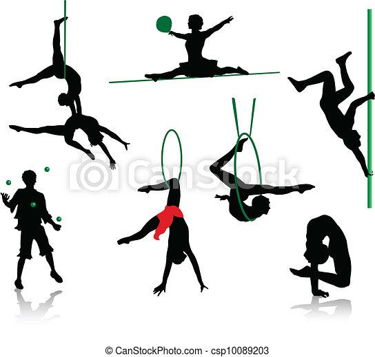 silhuetter, cirkus, performers. - csp10089203