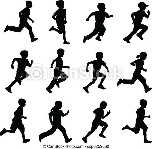 silhuetter, løb, børn - csp6259660