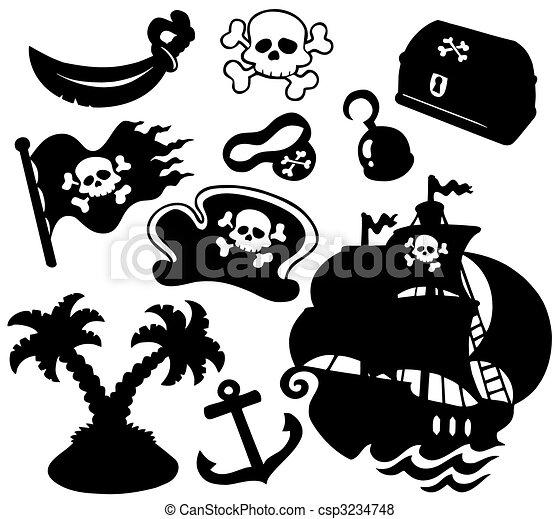 silhuetter, sørøver, samling - csp3234748