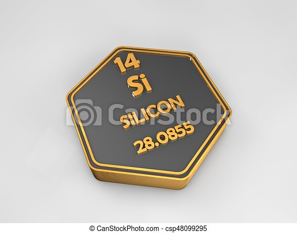 Silicon - Si - chemical element periodic table hexagonal shape 3d illustration - csp48099295