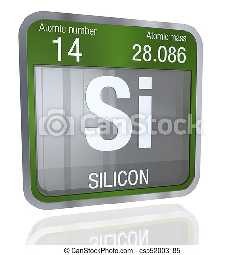 Silicon Symbol In Square Shape With Metallic Border And Transparent