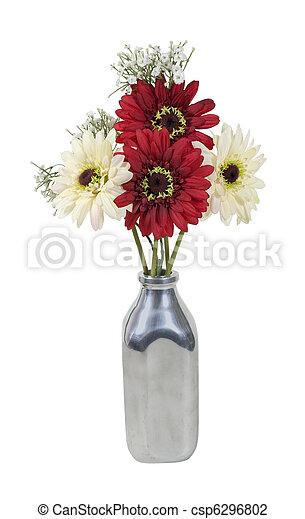 Silk flowers in a milk bottle silk flowers in a retro style silver silk flowers in a milk bottle csp6296802 mightylinksfo