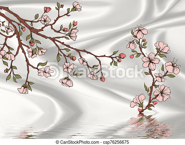 Silk gray background, painted flowering branches, reflected in water - csp76256675