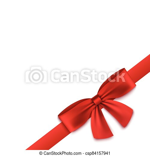 Silk red realistic ribbon tied into bow in corner of blank white square banner - csp84157941