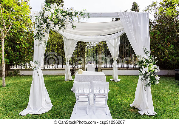 Silk Tent For The Wedding Ceremony For The Newlyweds. The Garden In The Countryside. Stock Photo & Silk tent for the wedding ceremony for the newlyweds. the... stock ...