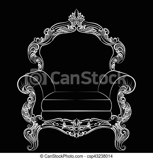 Sillón, barroco, muebles, estilo, lujo. Trono, estilo, rico,... clip ...