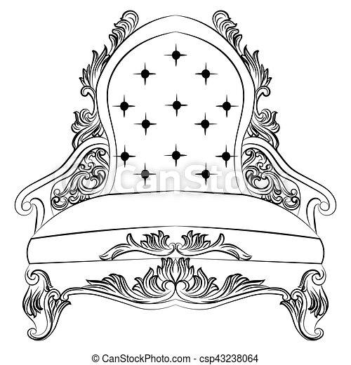 Sillón, barroco, muebles, estilo, lujo. Estilo, rico, furniture ...