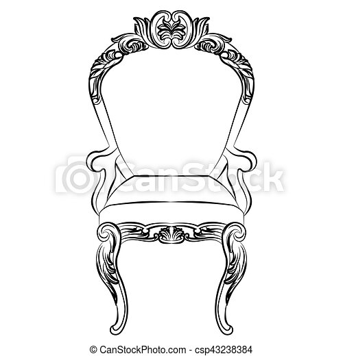 Sillón, barroco, muebles, estilo, lujo. Estilo, conjunto,... vector ...