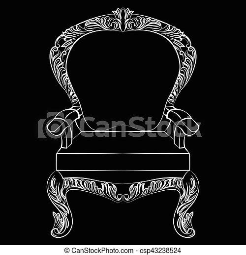 Sillón, barroco, muebles, estilo, lujo. Trono, estilo, rico ...