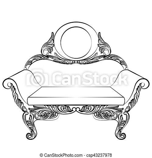 Sillón, barroco, muebles, estilo, lujo. Estilo, conjunto, rico ...