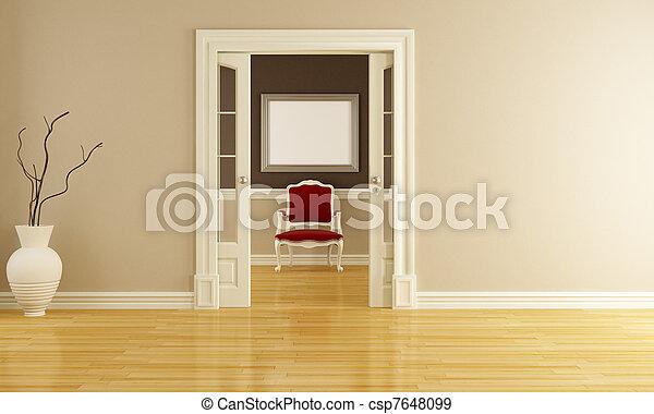 Interior clásico con sillón rojo - csp7648099