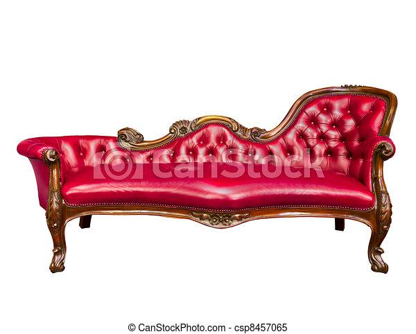 Un sillón de cuero rojo lujoso aislado de fondo blanco - csp8457065