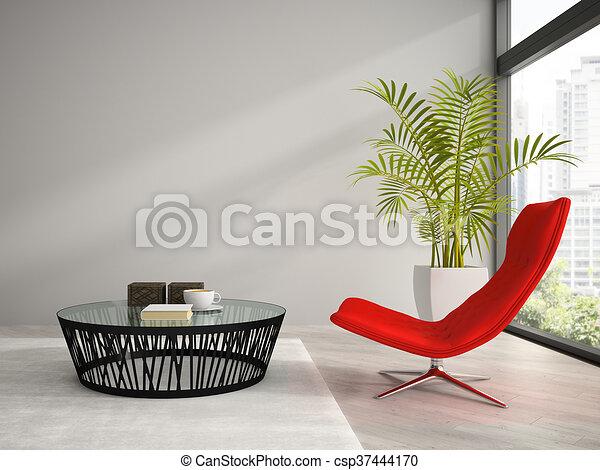 Parte del interior con el sillón rojo 3D - csp37444170
