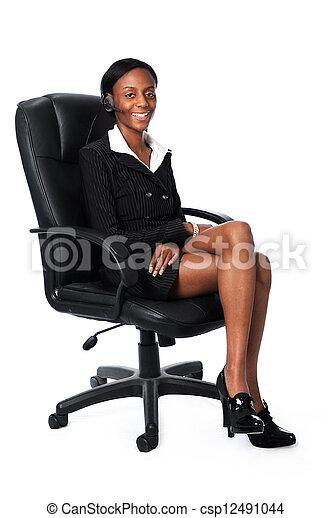 silla, corporación mercantil de mujer, sentado - csp12491044