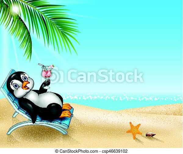 Pingüino de dibujos animados relajándose en la silla de playa - csp46639102