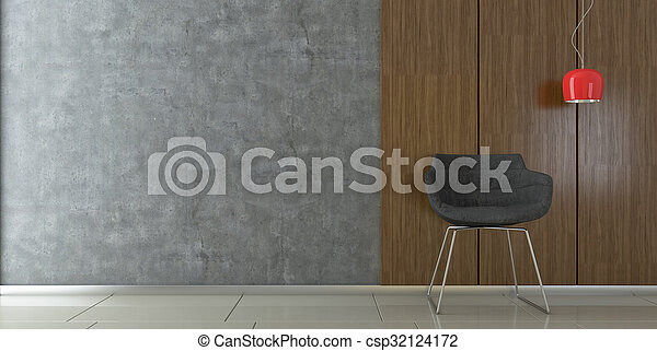 Una silla moderna en una habitación vacía - csp32124172