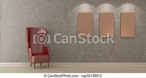 Una silla moderna en una habitación vacía - csp32138912