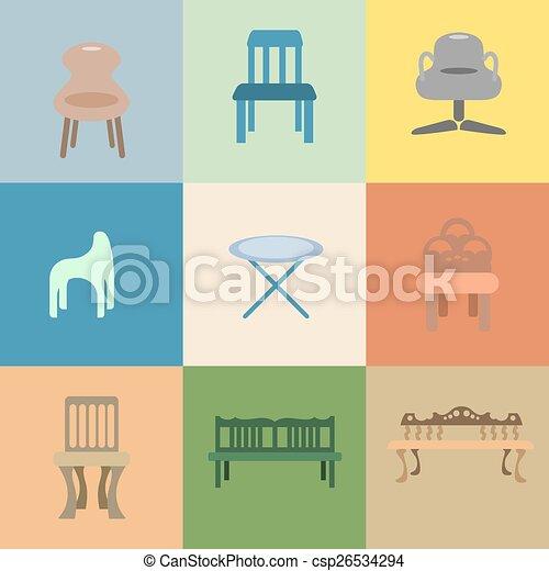 Un set de caricatura de vector de silla - csp26534294