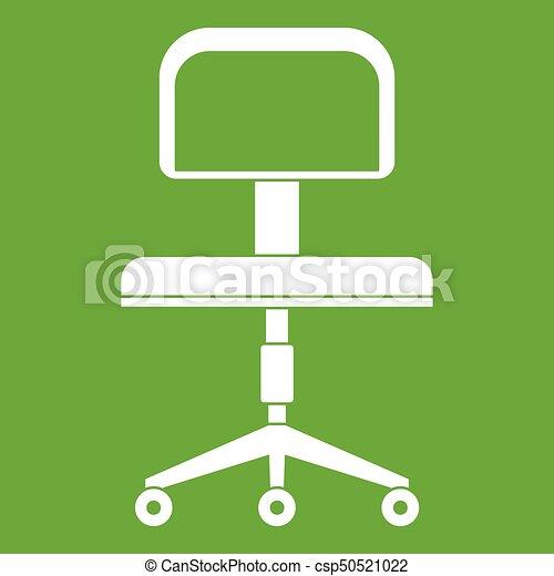 Silla, verde, ruedas, oficina, icono. Oficina, blanco ...