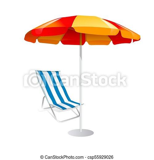 Parasol y sillas de cubierta sobre fondo blanco - csp55929026