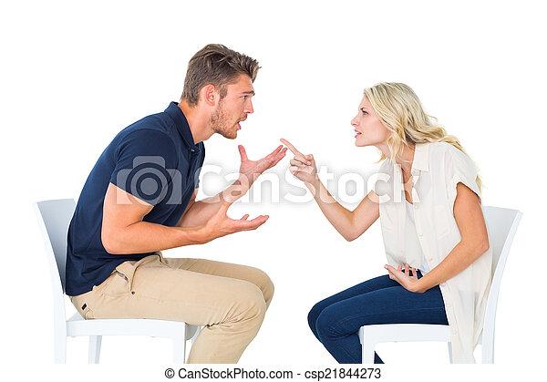 sillas, discusión, pareja, joven, sentado - csp21844273