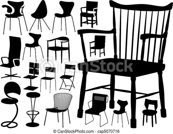 Gran colección de vectores de sillas - csp5070716