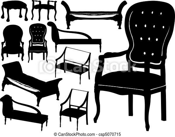 Gran colección de vectores de sillas - csp5070715