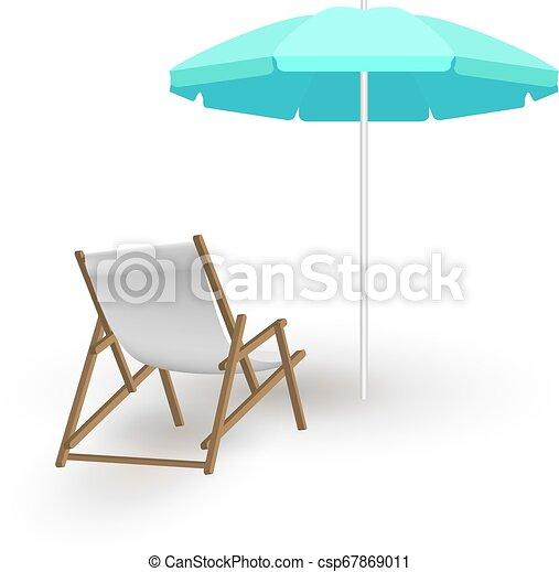 Sombrilla de playa con sillas de cubierta - csp67869011