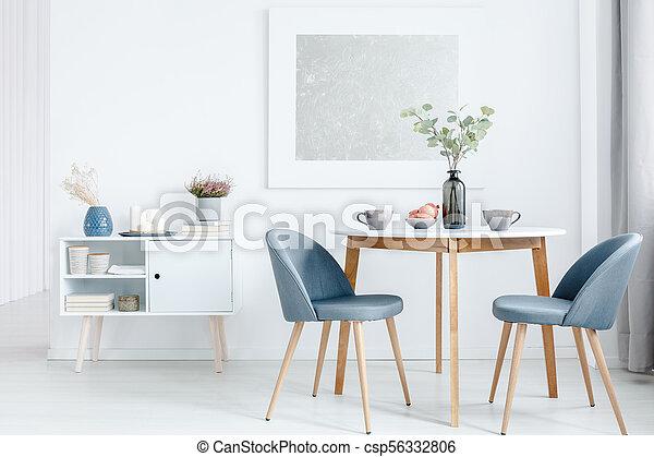 sillas, tapizado, pequeño, tabla, cenar
