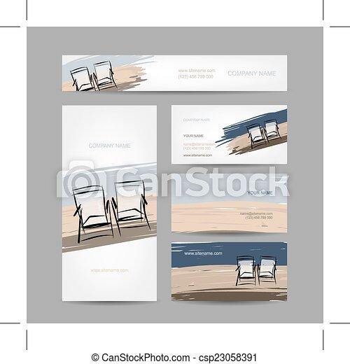 Diseño de tarjetas de negocios, sillas en la playa - csp23058391