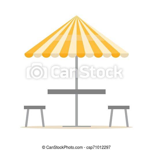 Equipo de playa, sombrilla y sillas, vector de verano - csp71012297