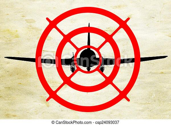 sillhuette, 飛行機, ターゲット - csp24093037