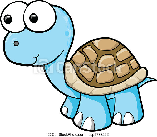 Silly Blue Turtle Animal vector - csp8733222