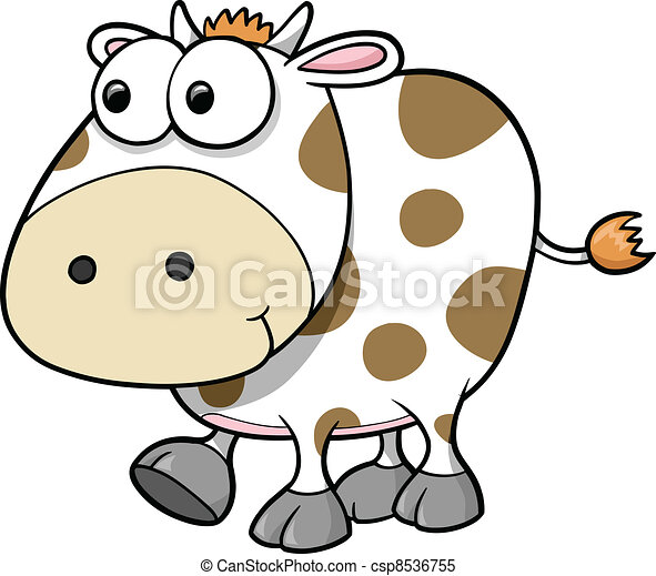 Silly Cow Animal Vector  - csp8536755