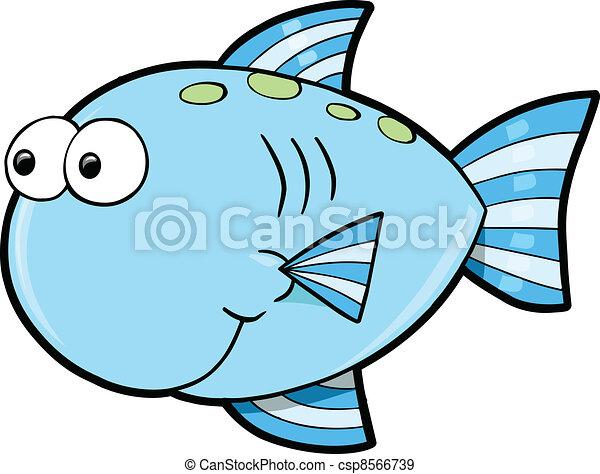 Silly Cute Fish Ocean Vector  - csp8566739