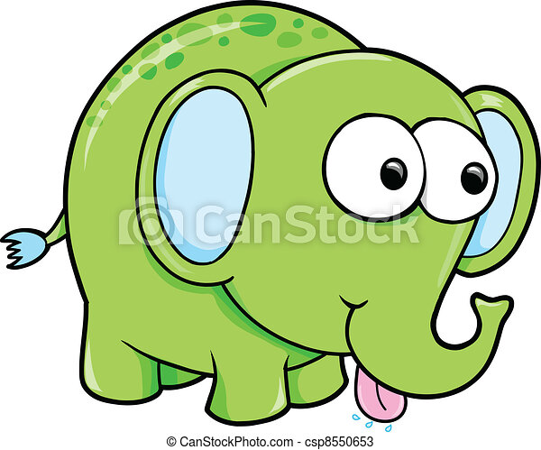 Silly Funny Elephant Animal Vector - csp8550653