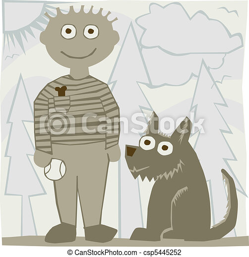 Silly Man with Dog - csp5445252