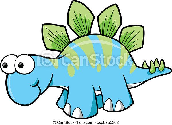 Silly Stegosaurus Dinosaur Vector - csp8755302