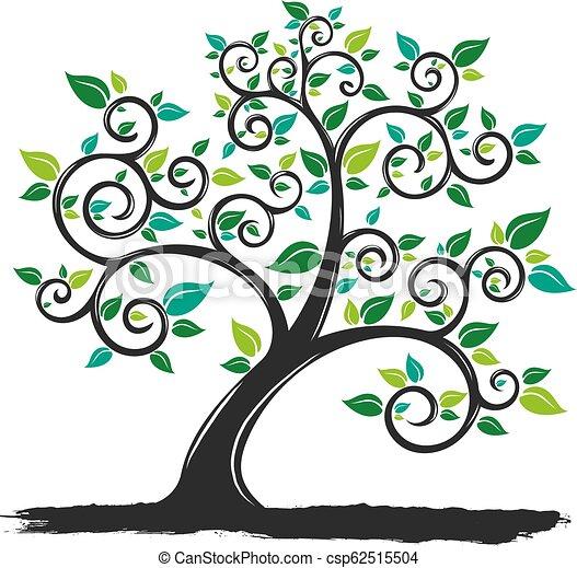 Vector Ilustración Árbol de Silueta con Raíces en el fondo blanco - csp62515504