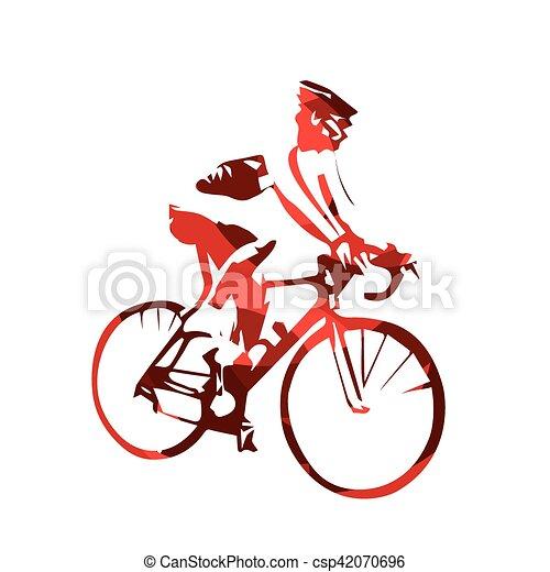 silueta abstratos ciclista vetorial estrada vermelho