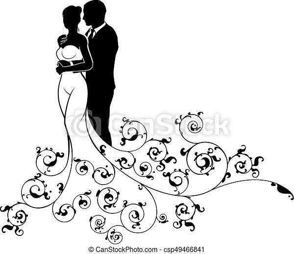 silueta, abstratos, noivo, noiva, desenho, casório - csp49466841