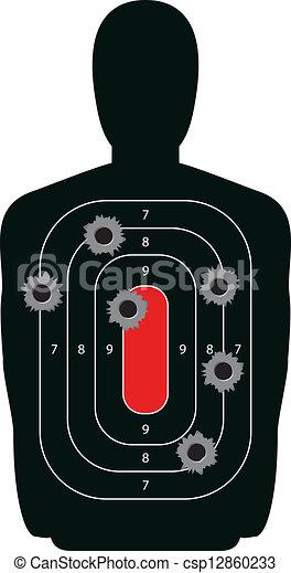 silueta, alvo, buracos bala, arma, gama, tiroteio - csp12860233