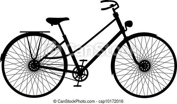 silueta, bicicleta, retro - csp10172016