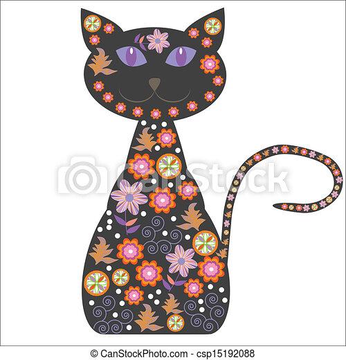 silueta, bonito, flo, gato - csp15192088