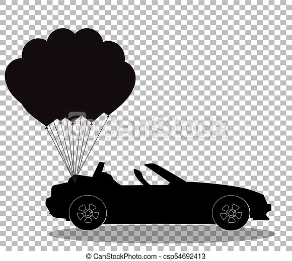 silueta, cabriolé, car, pretas, balões, transparente, grupo - csp54692413