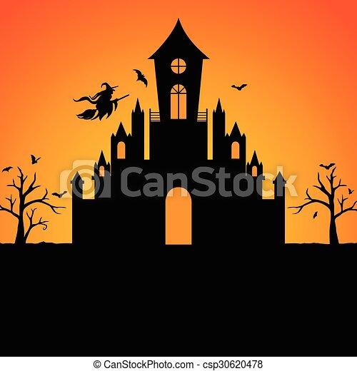 Silueta del castillo de brujas de Halloween - csp30620478