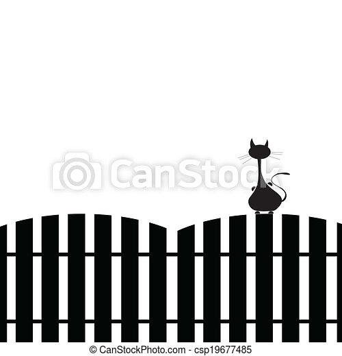 Gato en la silueta de la valla - csp19677485